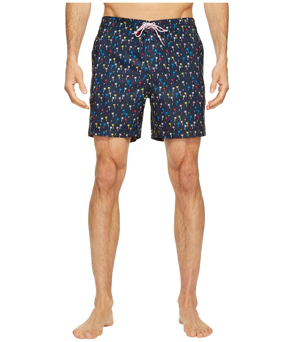 Original Penguin Confetti Palm Tree Fixed Volley Swim Trunk (Dark Sapphire) Men