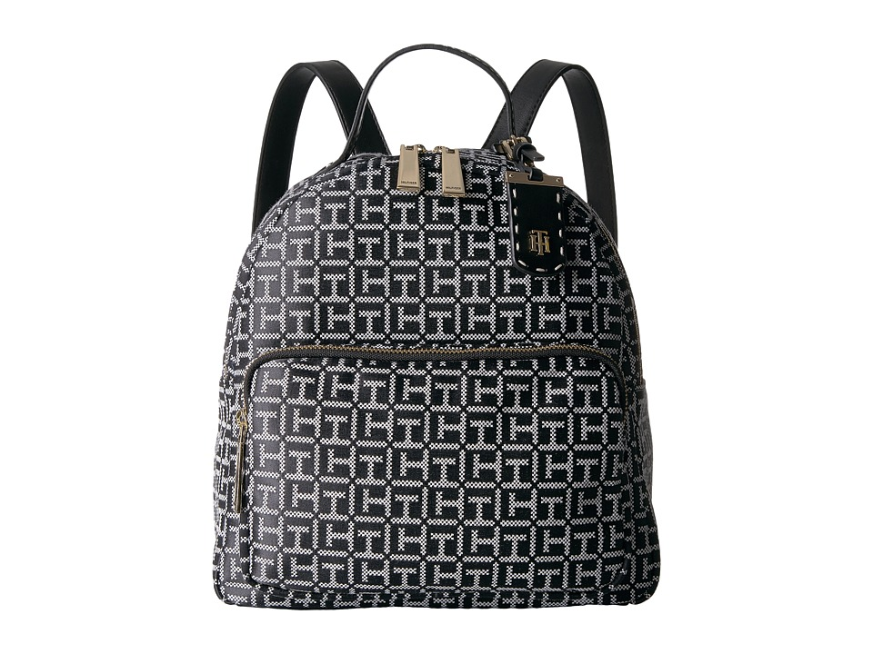 Tommy Hilfiger - Julia Dome Backpack (Black/White) Backpack Bags