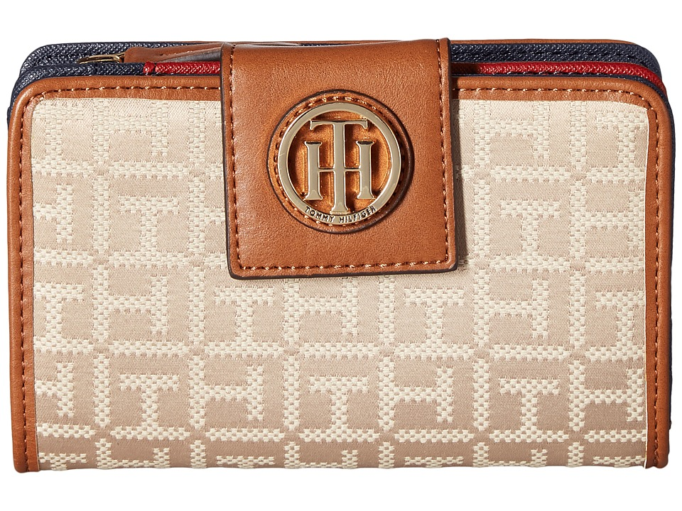 Tommy Hilfiger - TH Serif Signature - Medium Snap Flap Wallet (Khaki Tonal) Wallet Handbags