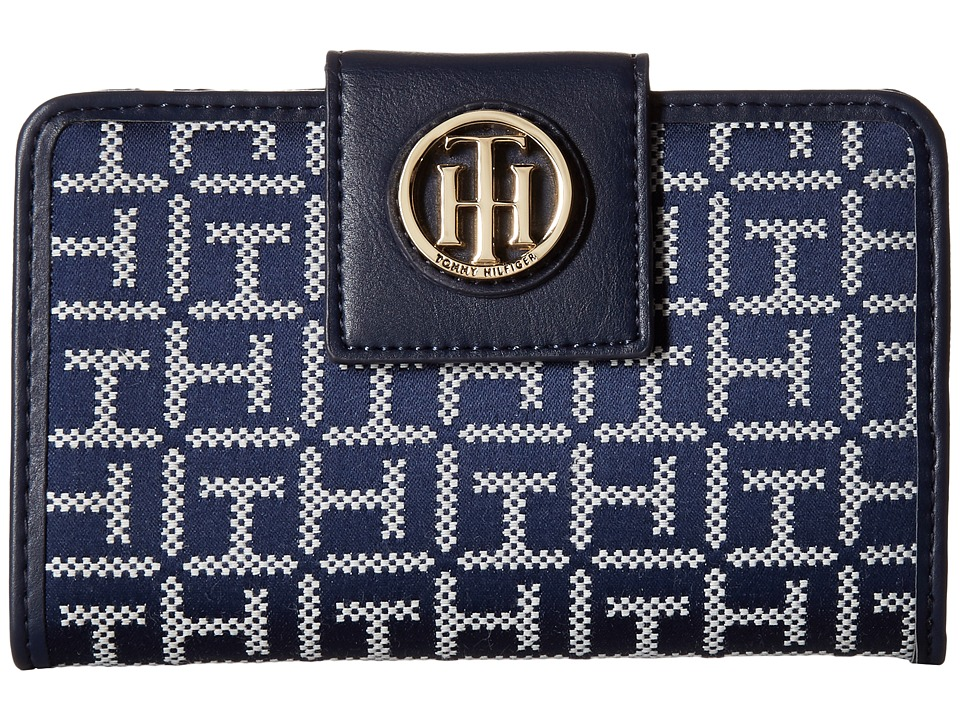 Tommy Hilfiger - TH Serif Signature - Medium Snap Flap Wallet (Navy/White) Wallet Handbags