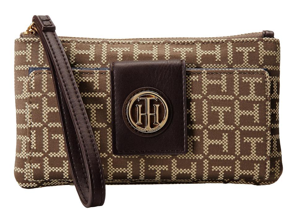 Tommy Hilfiger - TH Serif Signature - Snap Wristlet (Tan/Dark Chocolate) Wristlet Handbags