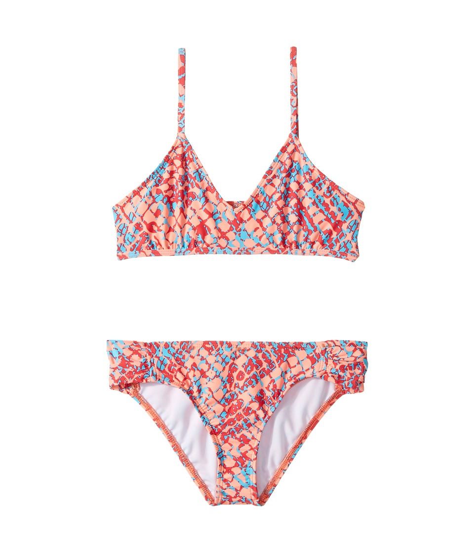 Splendid Littles - Printed Bralette Set (Big Kids) (Orange) Girl's Swimwear Sets