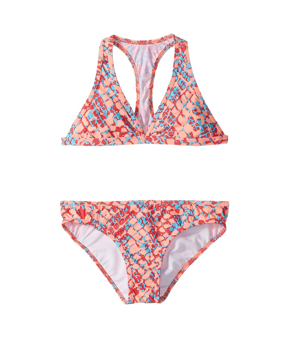 Splendid Littles - Printed Halter Set (Big Kids) (Orange) Girl's Swimwear Sets