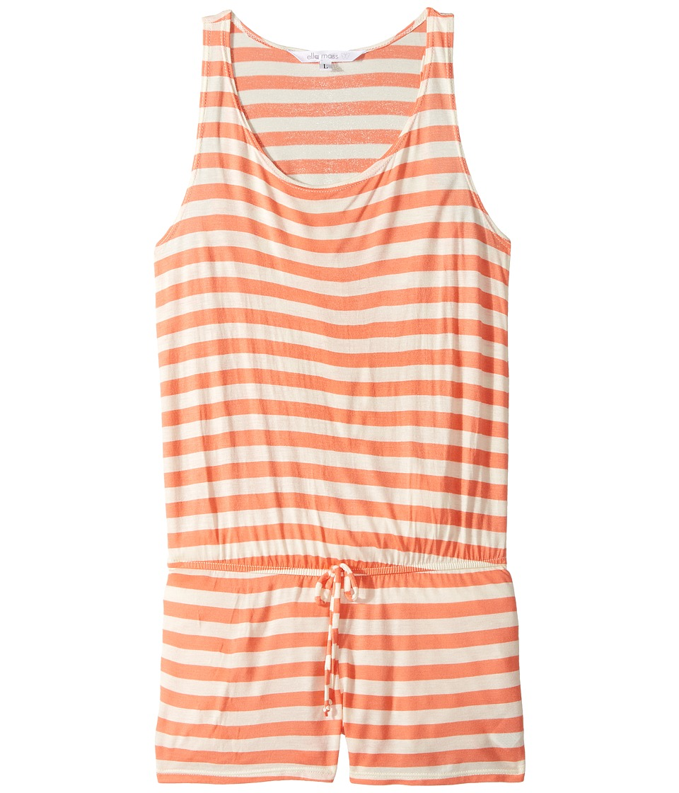 Ella Moss Girl - Printed Romper Cover-Up (Big Kids) (Orange) Girl's Swimsuits One Piece
