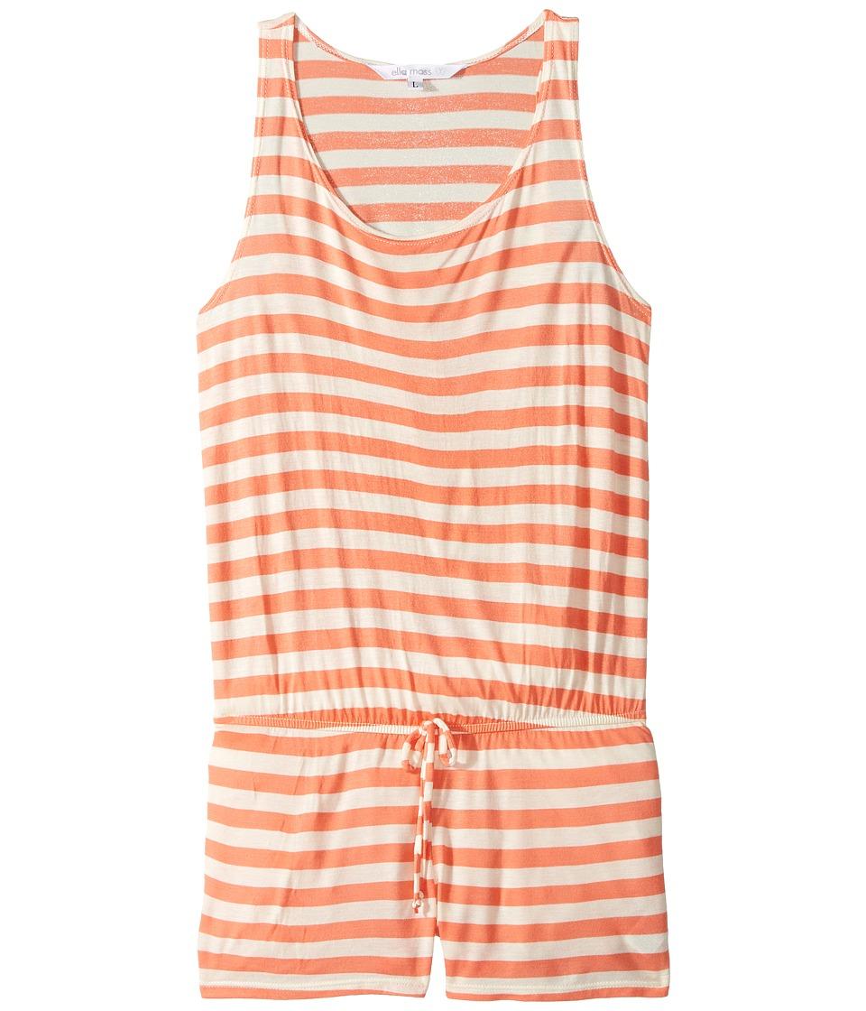 Ella Moss Girl - Printed Romper Cover-Up (Big Kids) (Orange) Girl's Swimsuits One Piece