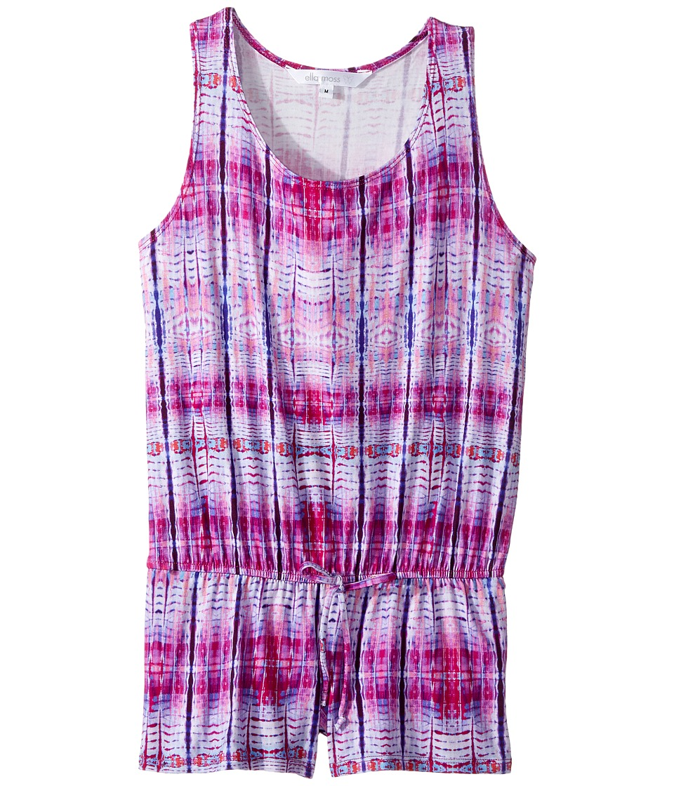 Ella Moss Girl - Printed Romper Cover-Up (Big Kids) (Purple) Girl's Swimsuits One Piece