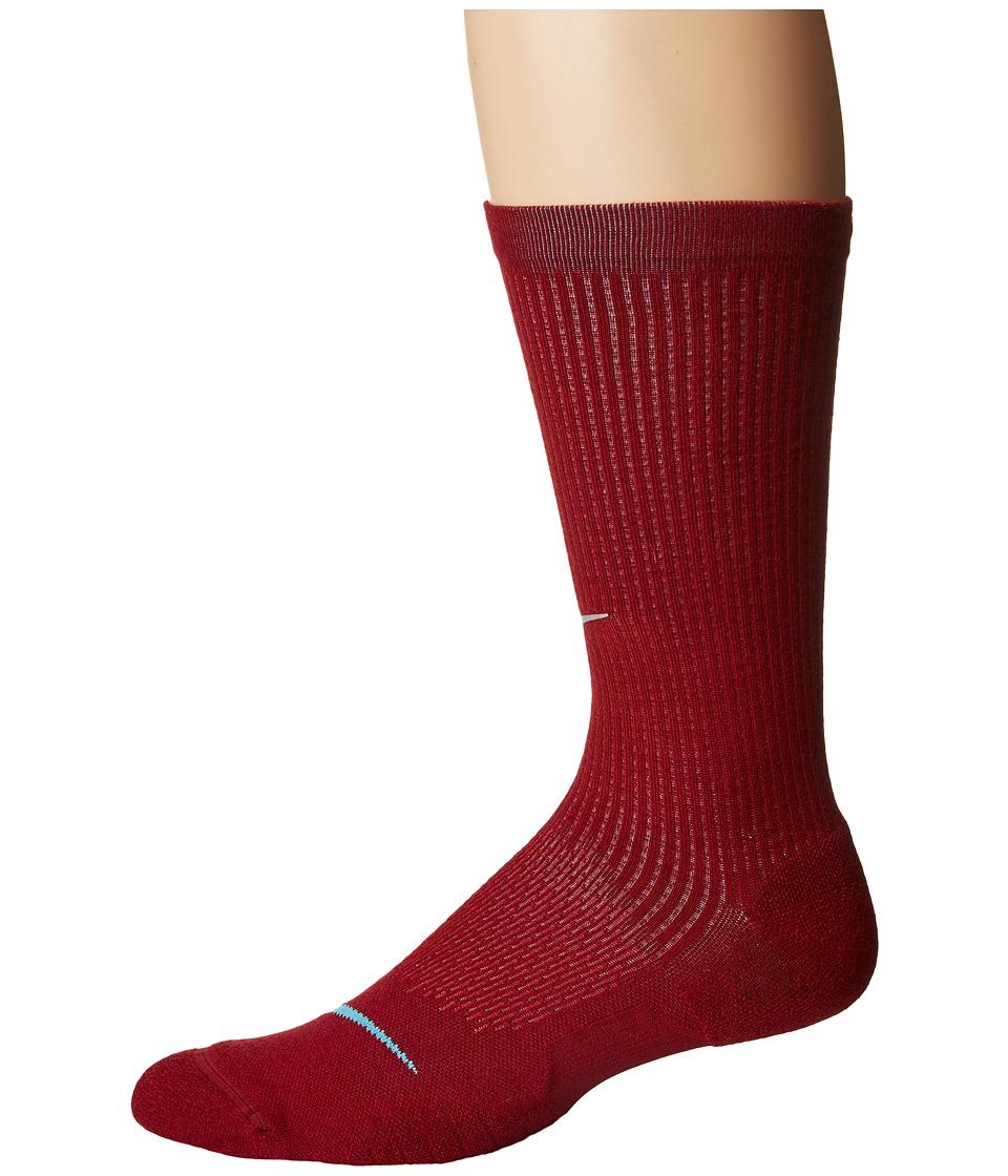 Nike Elite Cushioned Running Merino Crew Socks (Team Red/Gym Red/Blue Fury) Crew Cut Socks Shoes