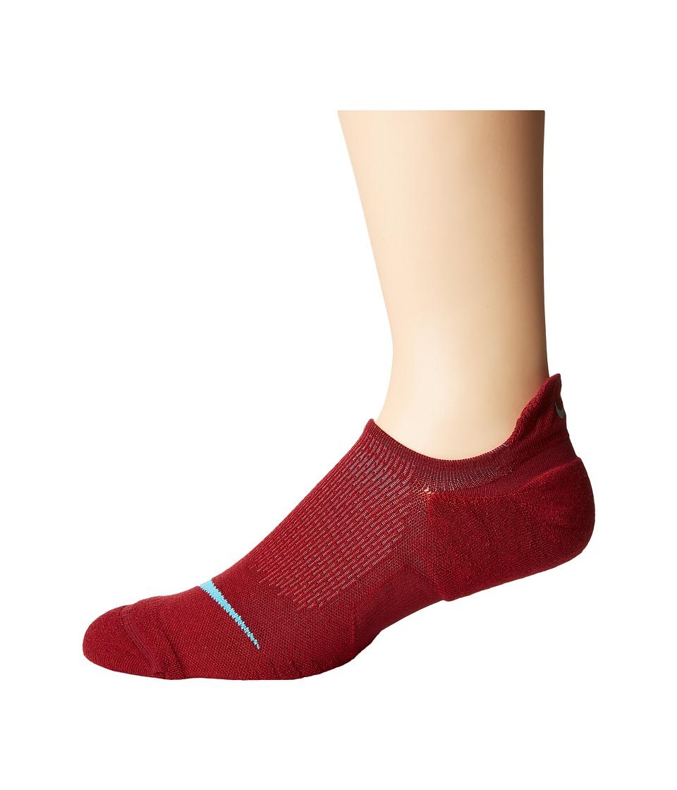 Nike Elite Cushioned Running No Show Socks (Team Red/Gym Red/Blue Fury) No Show Socks Shoes