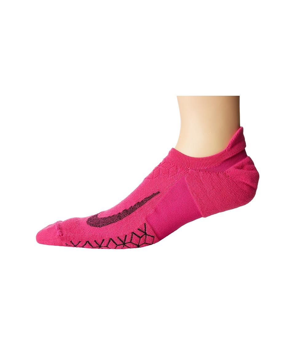 Nike Elite Cushion No-Show Tab Running Socks (Lethal Pink/Black) No Show Socks Shoes