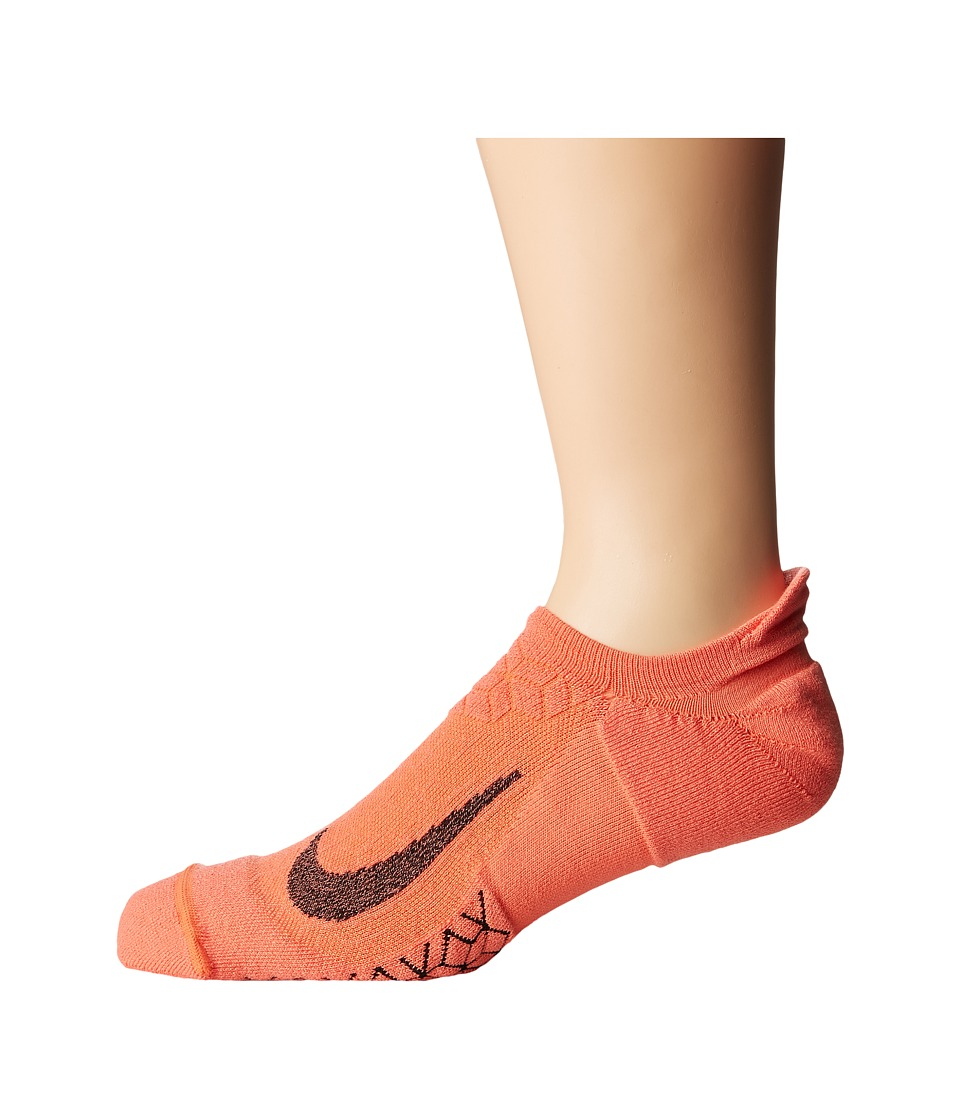 Nike Elite Cushion No-Show Tab Running Socks (Light Wild Mango/Black) No Show Socks Shoes