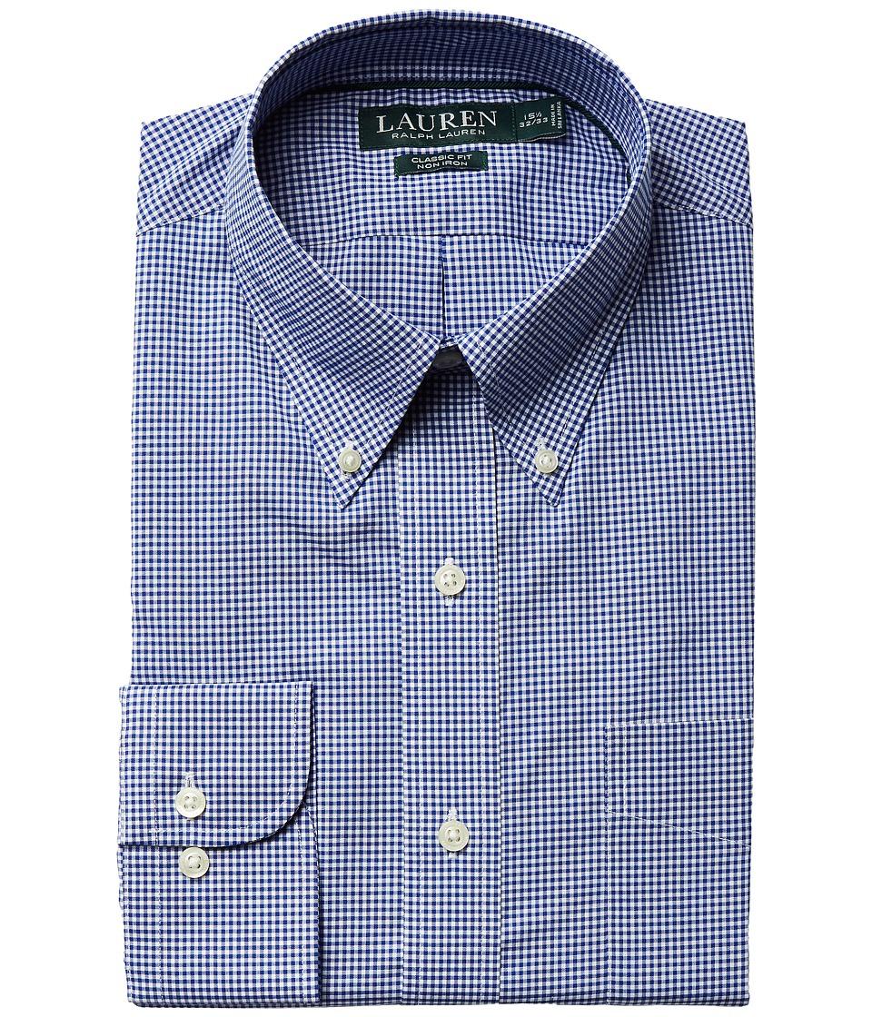 LAUREN Ralph Lauren - Classic Fit Non Iron Gingham Plaid Button Down Collar Dress Shirt (Navy/White) Men's Long Sleeve Button Up