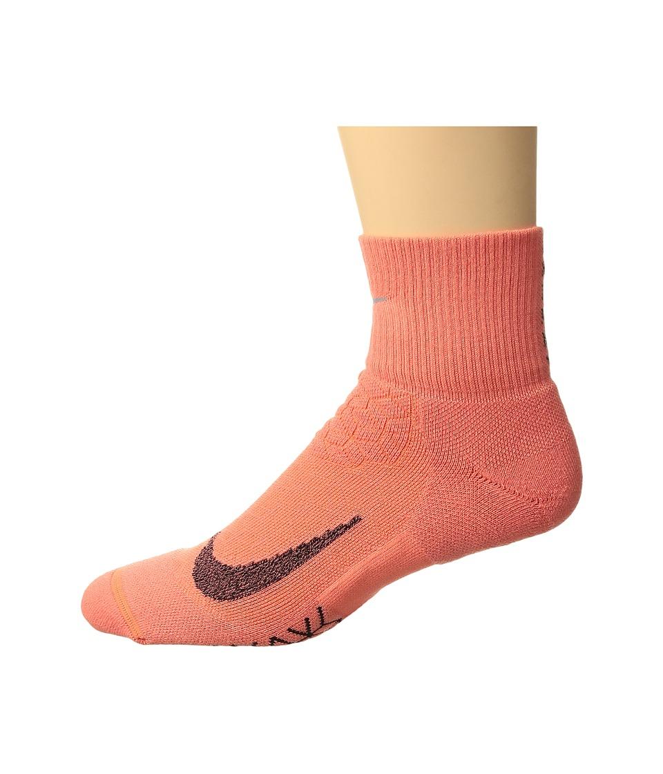 Nike Elite Cushion Quarter Running Socks (Light Wild Mango/Black) Quarter Length Socks Shoes