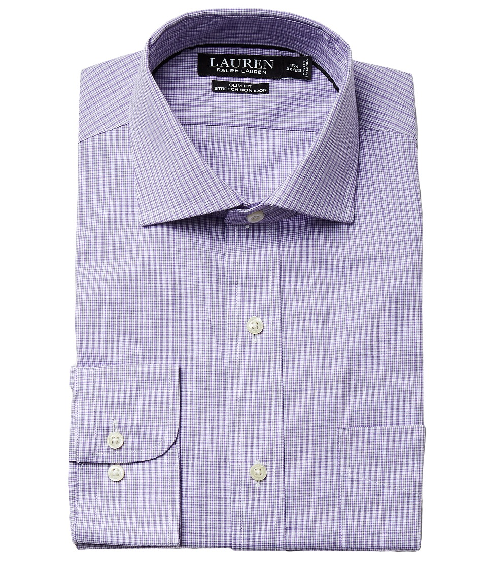 LAUREN Ralph Lauren - Slim Fit Non Iron Pinpoint Stretch Plaid Spread Collar Dress Shirt (Purple) Men's Long Sleeve Button Up