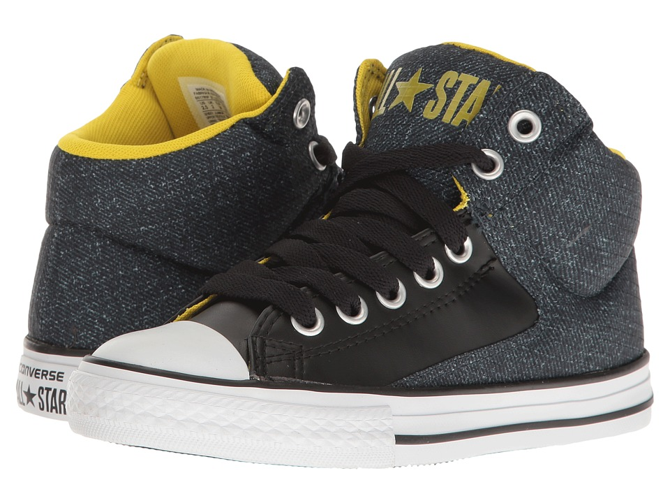 Converse Kids Chuck Taylor All Star High Street Hi (Little Kid/Big Kid) (Black/White/Yellow) Kids Shoes