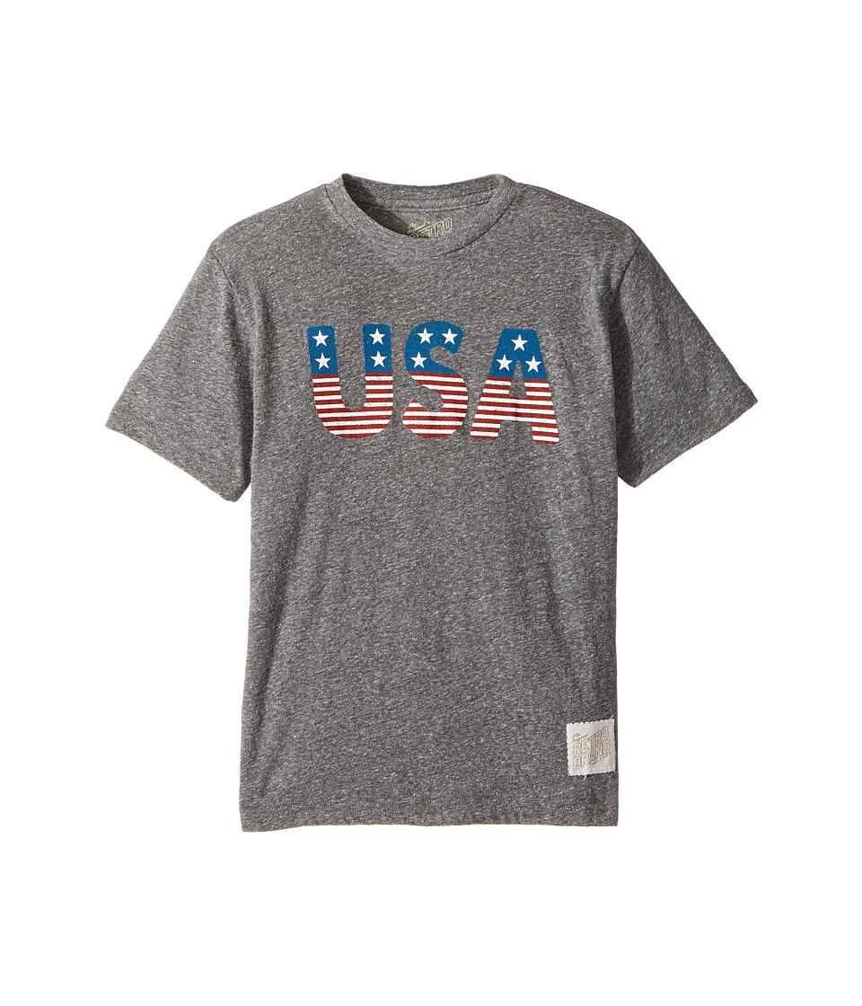 The Original Retro Brand Kids - Stars and Stripes Tri-Blend Short Sleeve USA Tee (Big Kids) (Streaky Grey) Boy's T Shirt