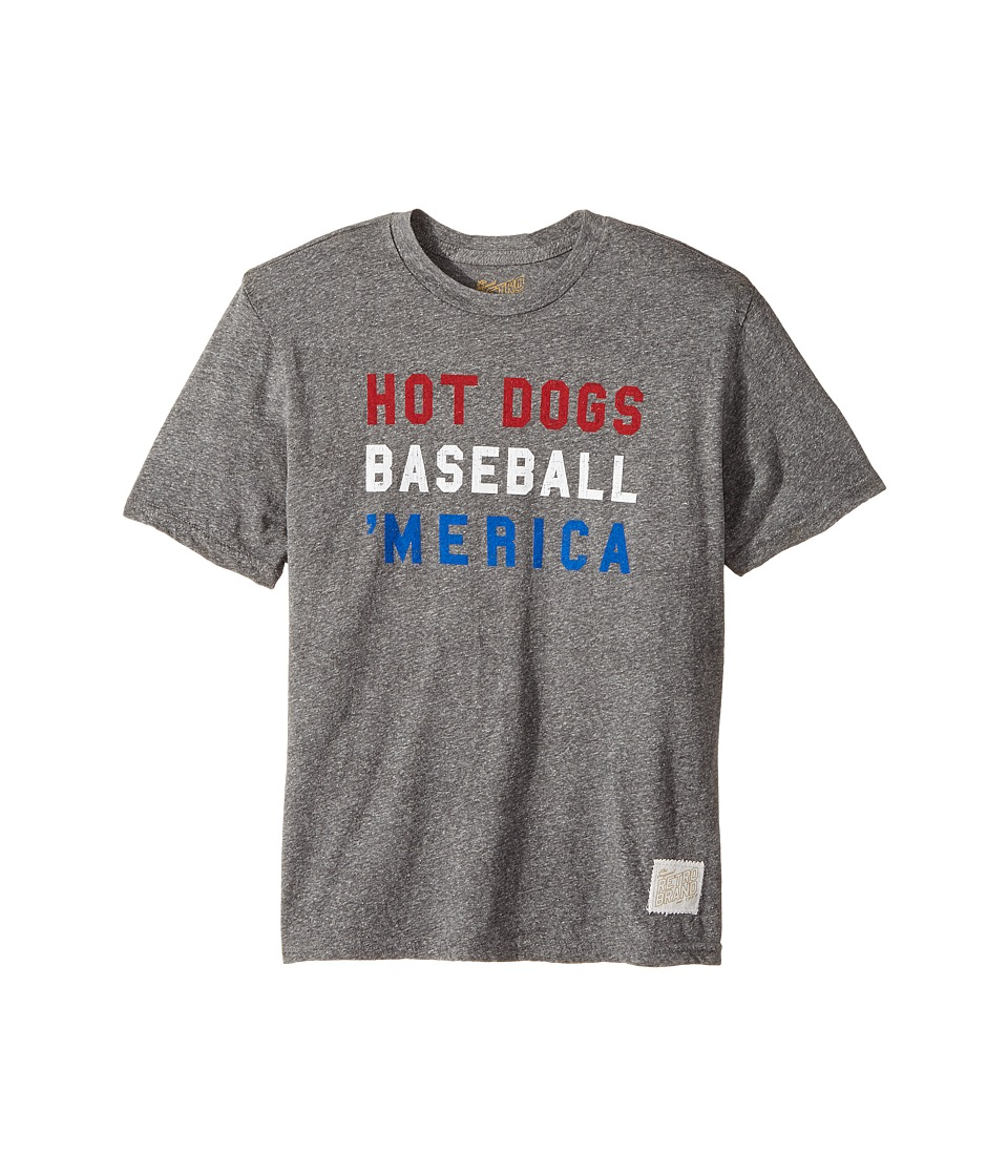 The Original Retro Brand Kids - Hot Dogs Baseball Merica Tee (Big Kids) (Streaky Grey) Boy's T Shirt