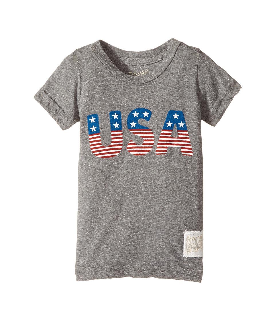 The Original Retro Brand Kids - Stars and Stripes Tri-Blend Short Sleeve USA Tee (Toddler) (Streaky Grey) Boy's T Shirt