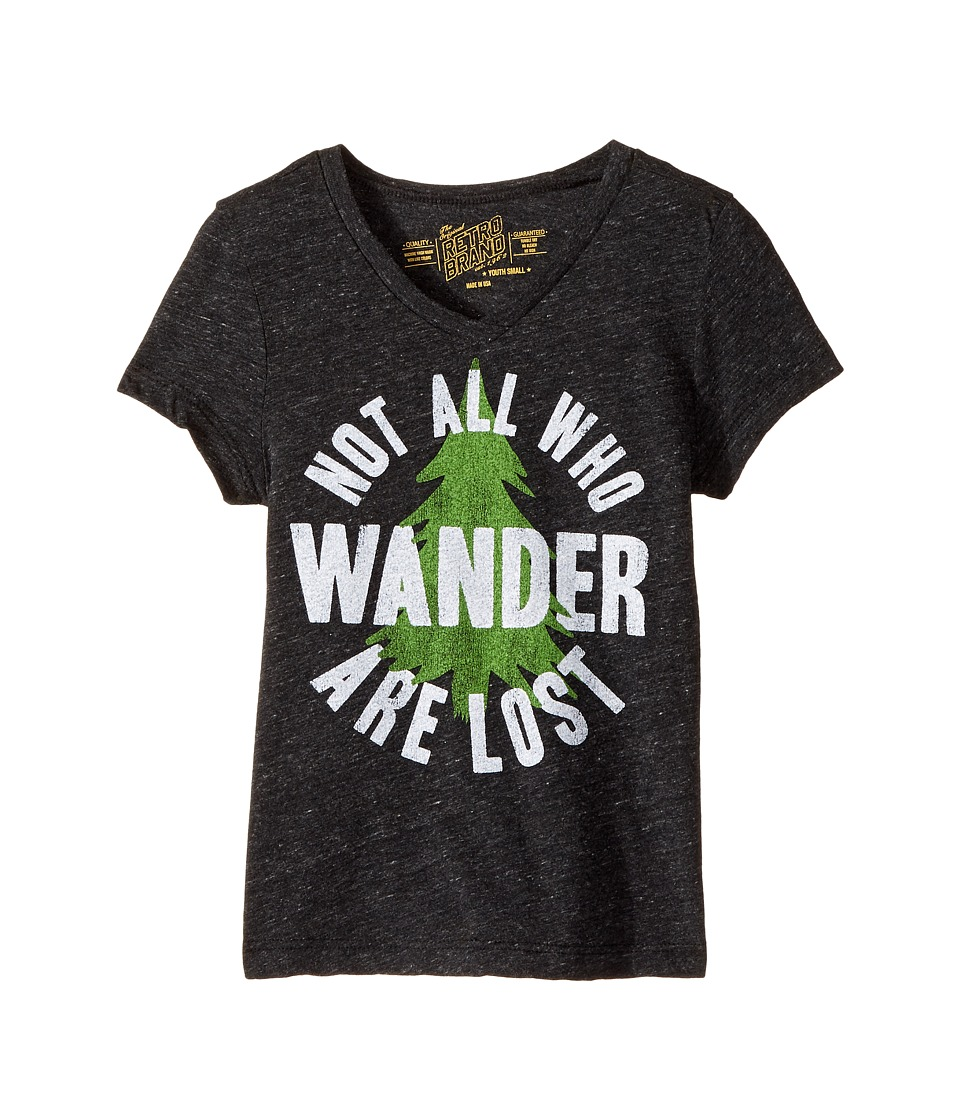 The Original Retro Brand Kids - Not All Who Wander Are Lost Short Sleeve Tri-Blend V-Neck Tee (Big Kids) (Streaky Black) Girl's T Shirt