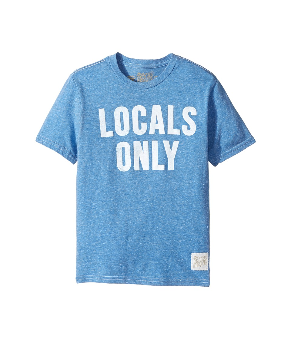 The Original Retro Brand Kids - Locals Only Short Sleeve Tri-Blend Tee (Big Kids) (Streaky Royal) Boy's T Shirt