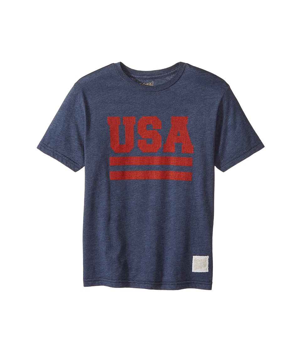 The Original Retro Brand Kids - Short Sleeve Heather USA Tee (Big Kids) (Heather Navy) Boy's T Shirt