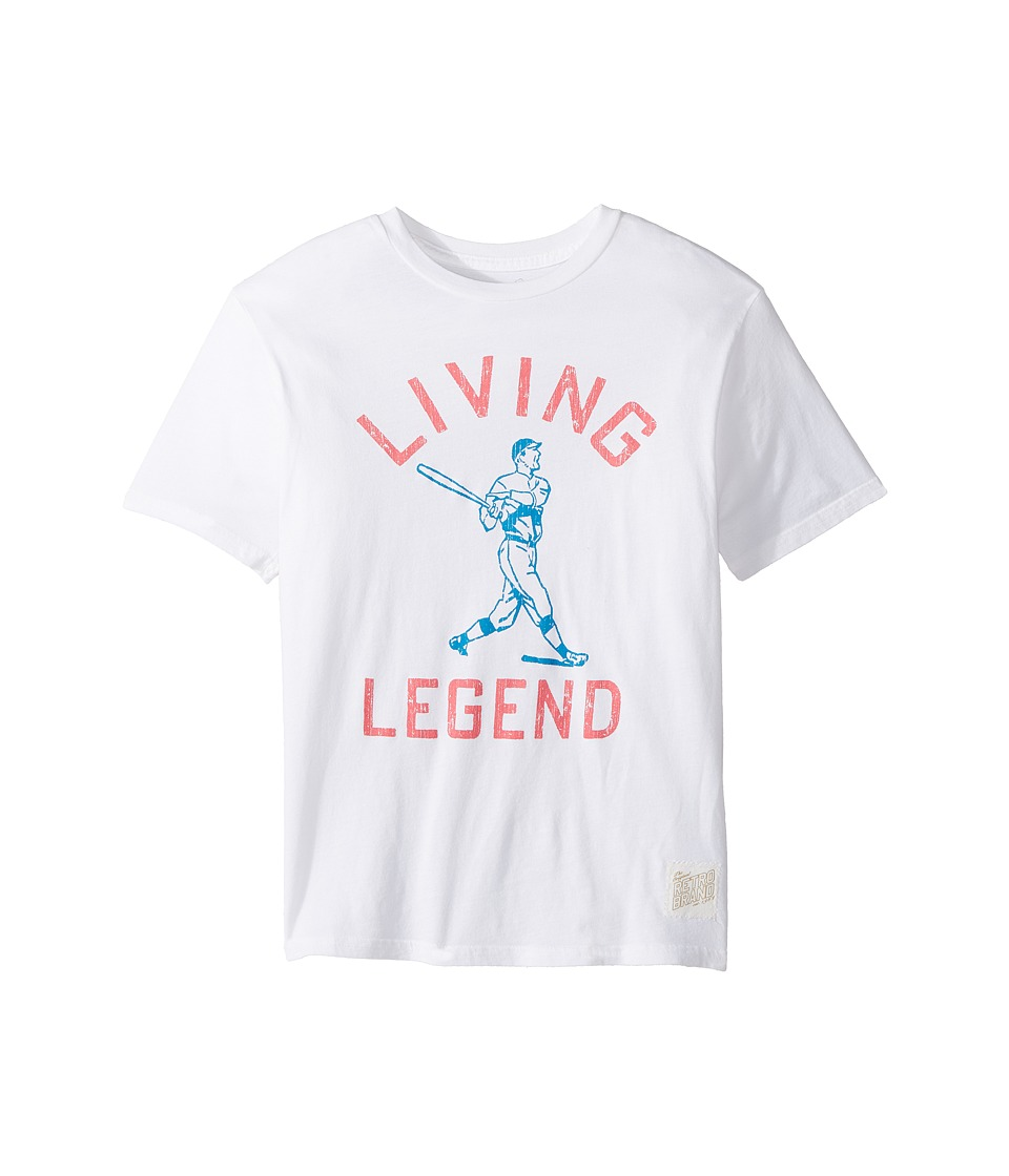 The Original Retro Brand Kids - Living Legend Vintage Cotton Short Sleeve Tee (Big Kids) (White) Boy's T Shirt