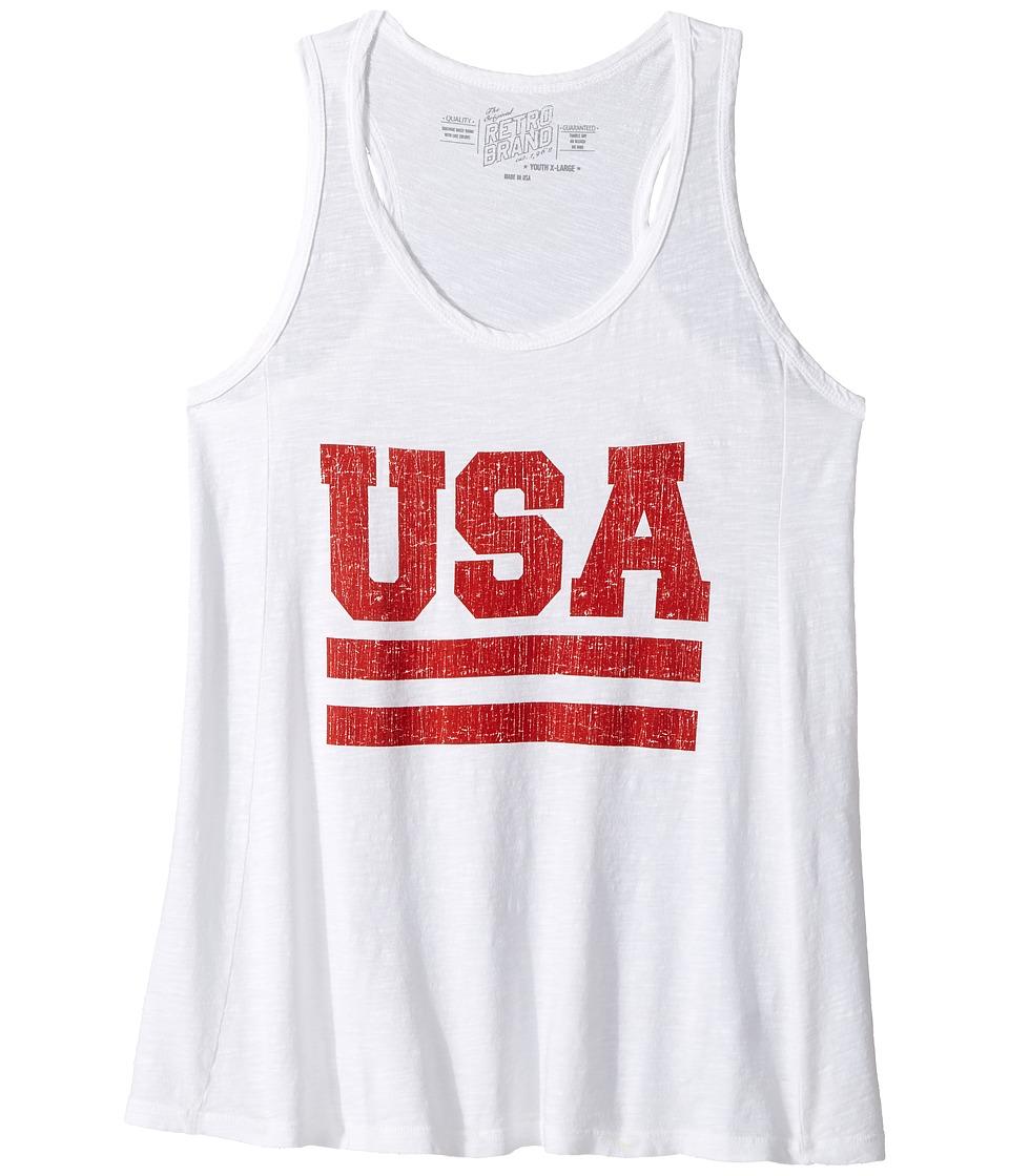 The Original Retro Brand Kids - Slub USA Racerback Tank Top (Big Kids) (White) Girl's Sleeveless
