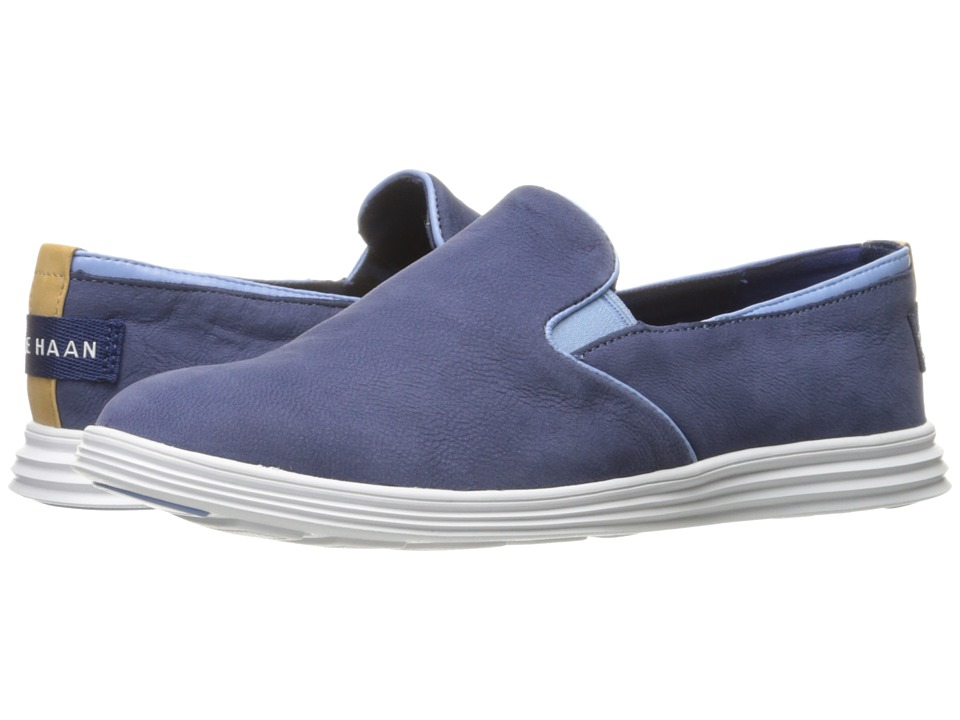 Cole Haan Ella Grand 2 Gore Slip-On (Washed Indigo Nubuck/Skyway/Optic White) Women