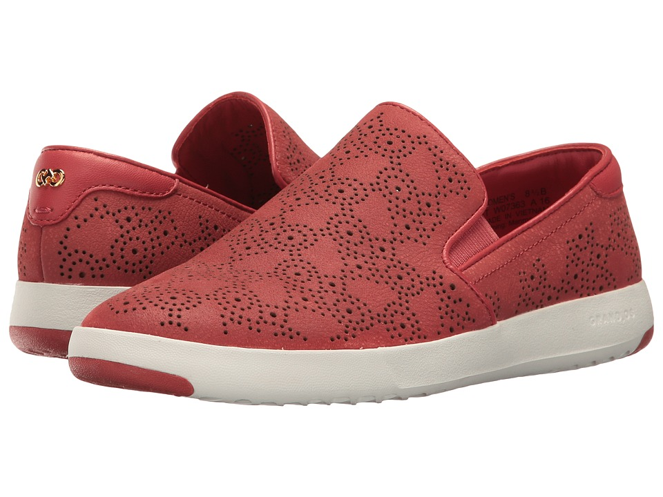 Cole Haan - GrandPro Paisley Perf Slip-On (New Mineral Red Nubuck) Women's Slip on Shoes