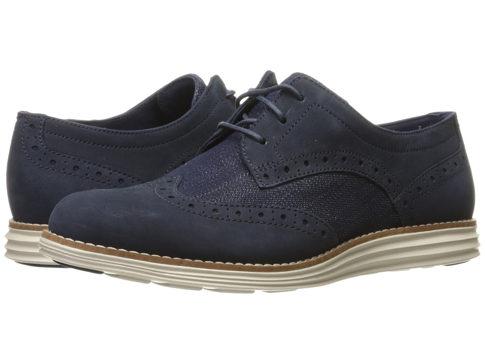 Cole Haan - Original Grand Wingtip (Navy Ink Nubuck/Denim/Fog) Women's Lace Up Wing Tip Shoes
