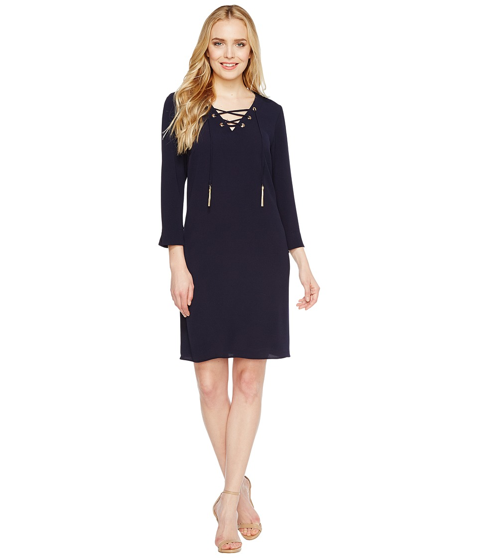 Christin Michaels - Moorpark Crepe Shift Dress (Navy) Women's Dress