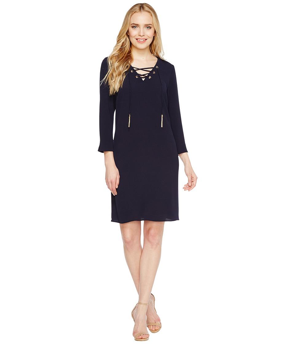 Christin Michaels - Moorpark Crepe Shift Dress (Navy) Women's Dress