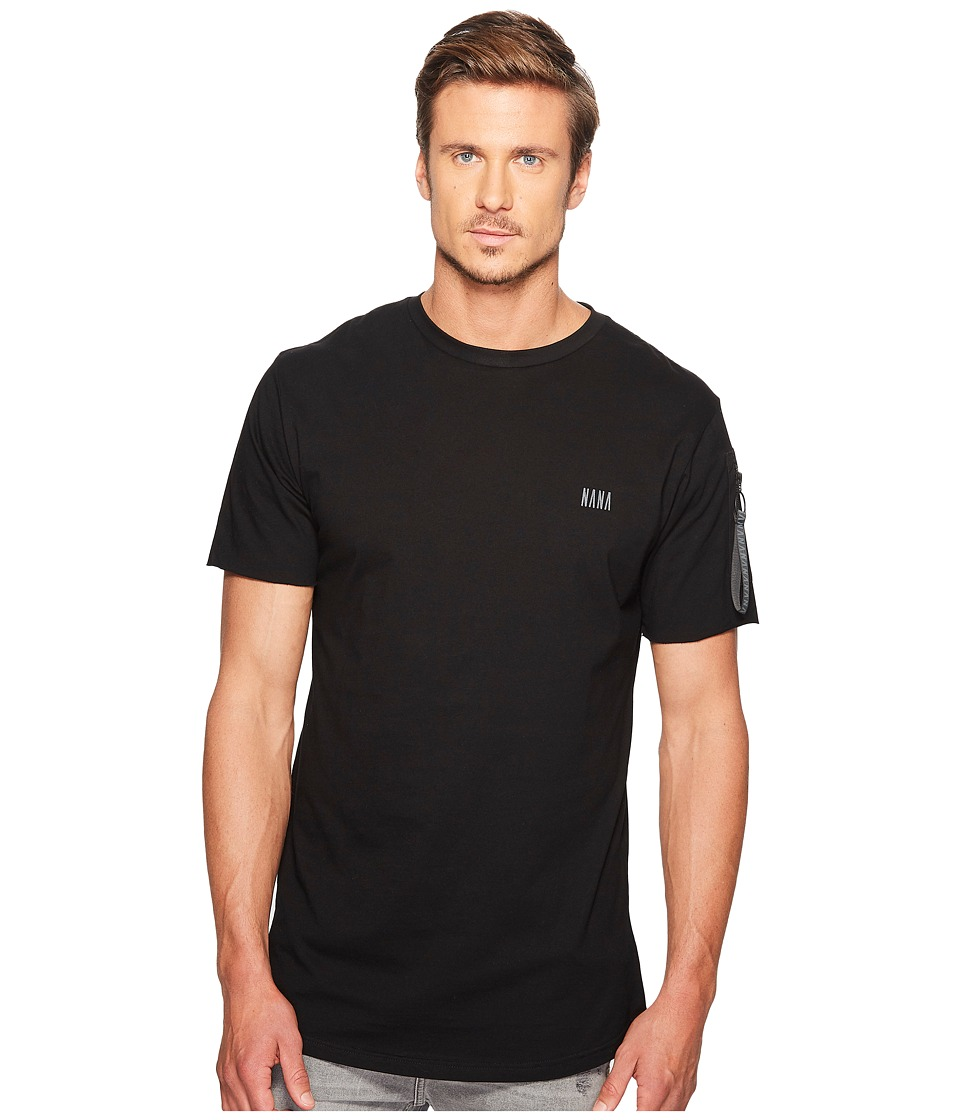 nANA jUDY - Fleet T-Shirt with Branded Nana Zipper Tape Pocket At Sleeve and Chest Print (Black) Men's T Shirt