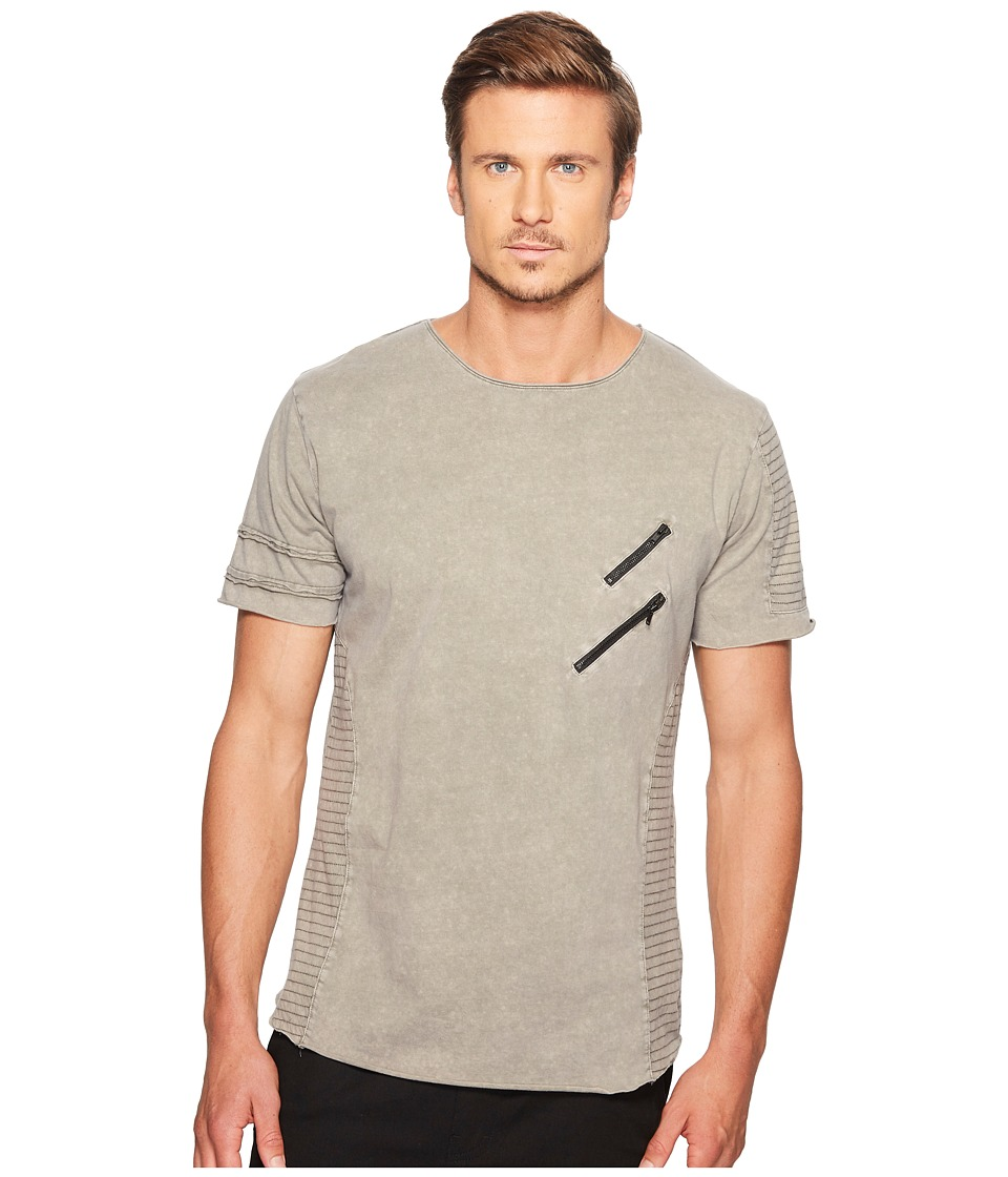 nANA jUDY - Lombard Moto Tee with Stitching and Zipper Detail (Acid Grey) Men's T Shirt