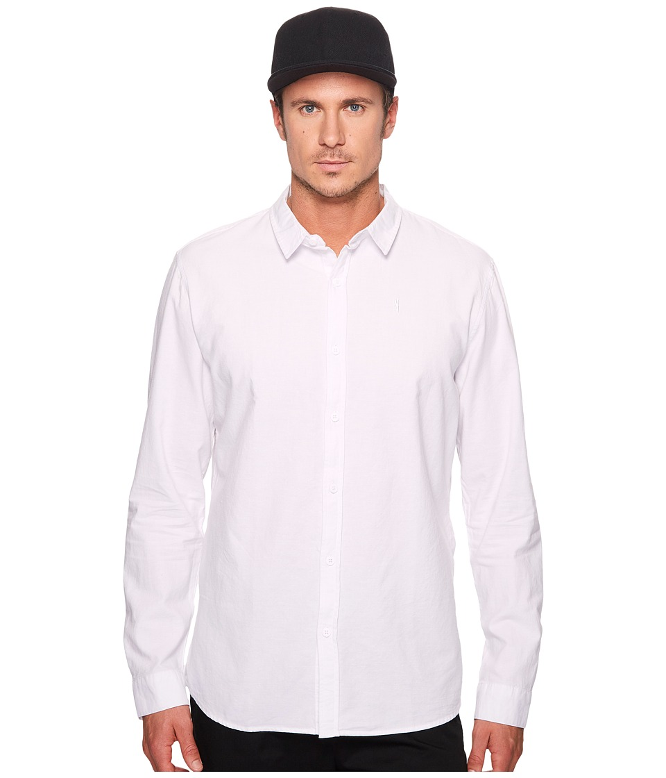 nANA jUDY - Whitehall Cotton Long Sleeve Shirt with N Branded Chest Logo (White) Men's Clothing