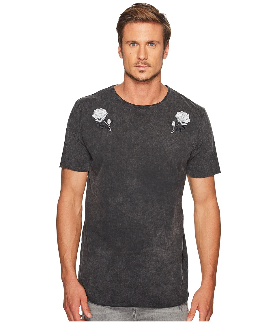 nANA jUDY - Sundance T-Shirt with Monochrome Rose Embroidery Detail (Vintage Black) Men's T Shirt