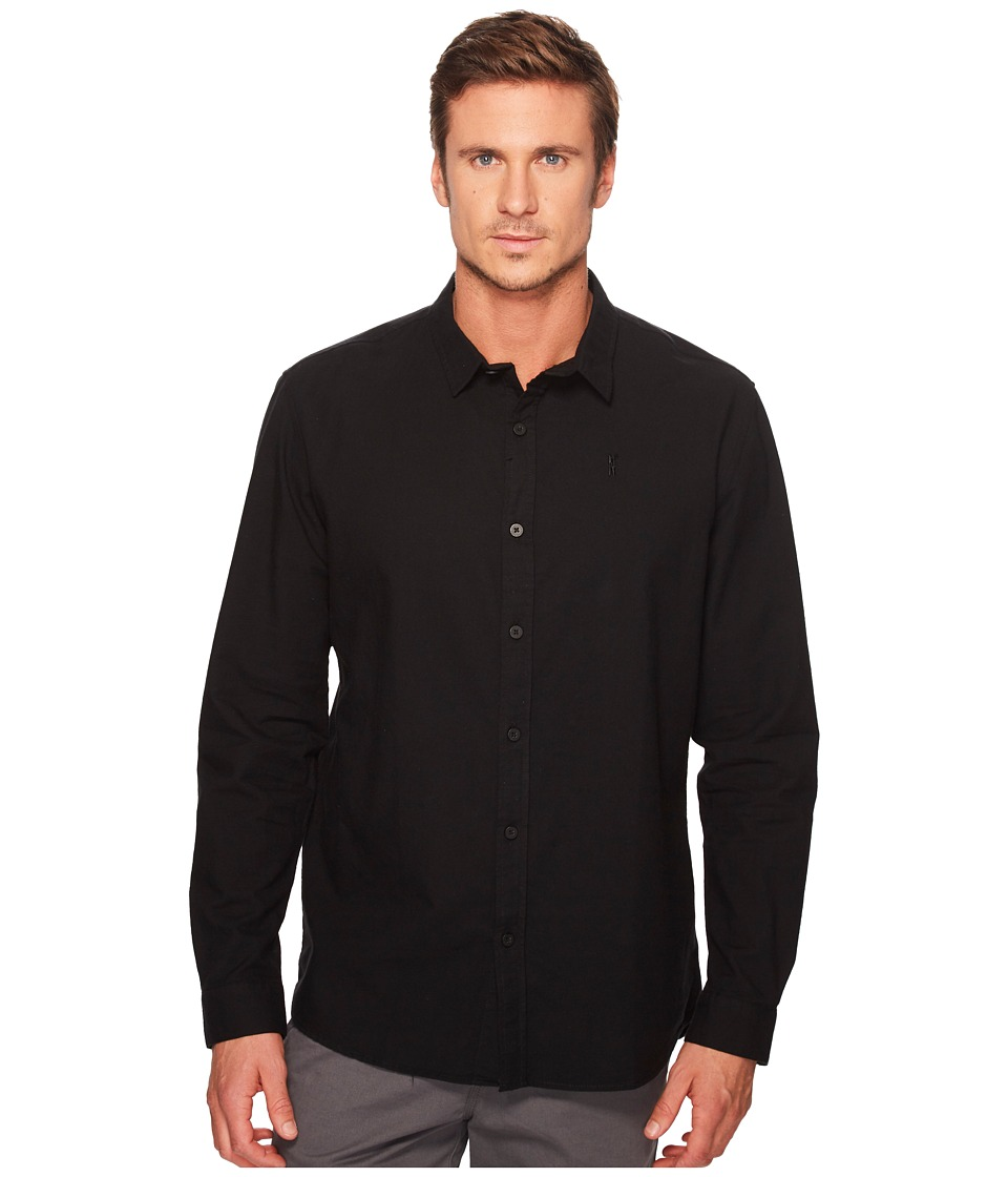 nANA jUDY - Whitehall Cotton Long Sleeve Shirt with N Branded Chest Logo (Black) Men's Clothing