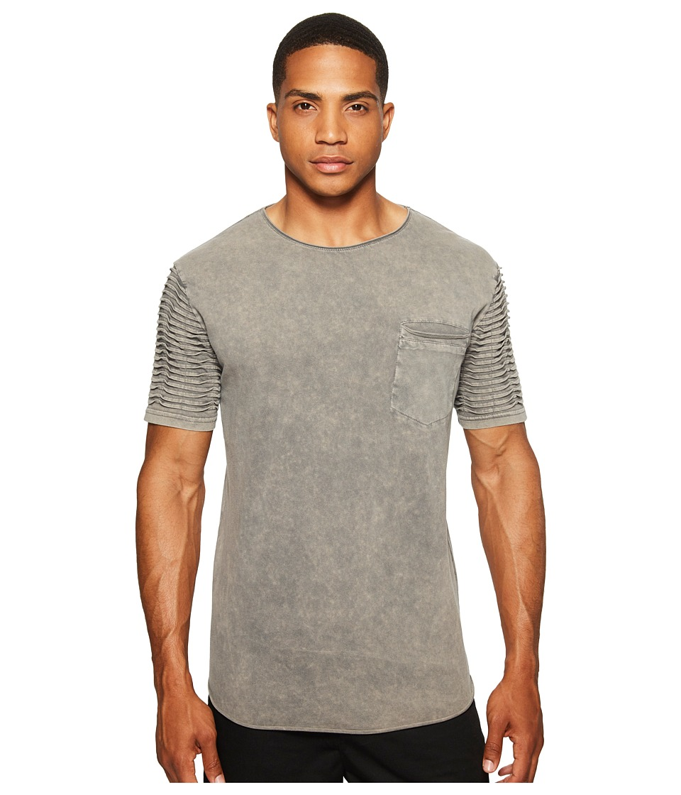 nANA jUDY - The White Room 3D Pin Tuck Twist Sleeve Tee (Acid Grey) Men's T Shirt
