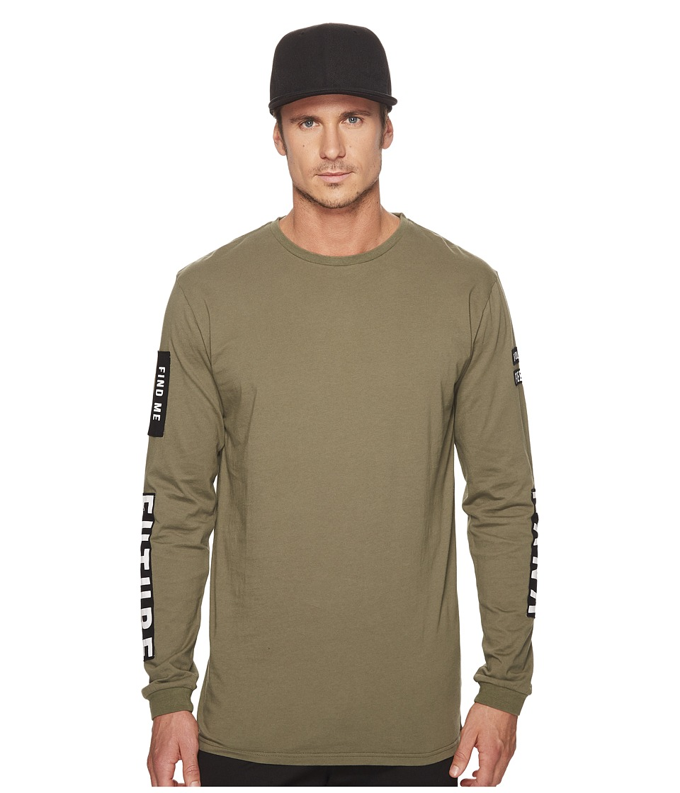 nANA jUDY - Houston Long Sleeve Top with Contrast Patchwork and Print Sleeve (Khaki) Men's Clothing