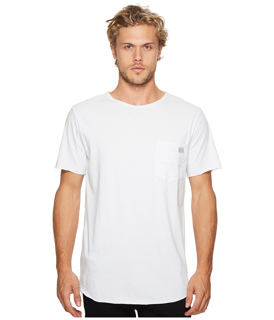 nANA jUDY - Reed T-Shirt with Moto Pocket Detail Embroidery (White) Men's T Shirt