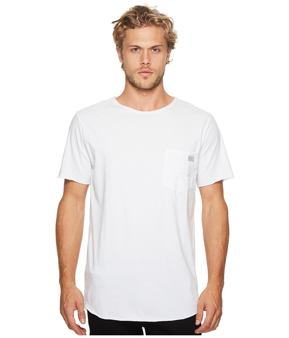 nANA jUDY - Reed T-Shirt with Moto Pocket Detail Embroidery (White) Men's T Shirt