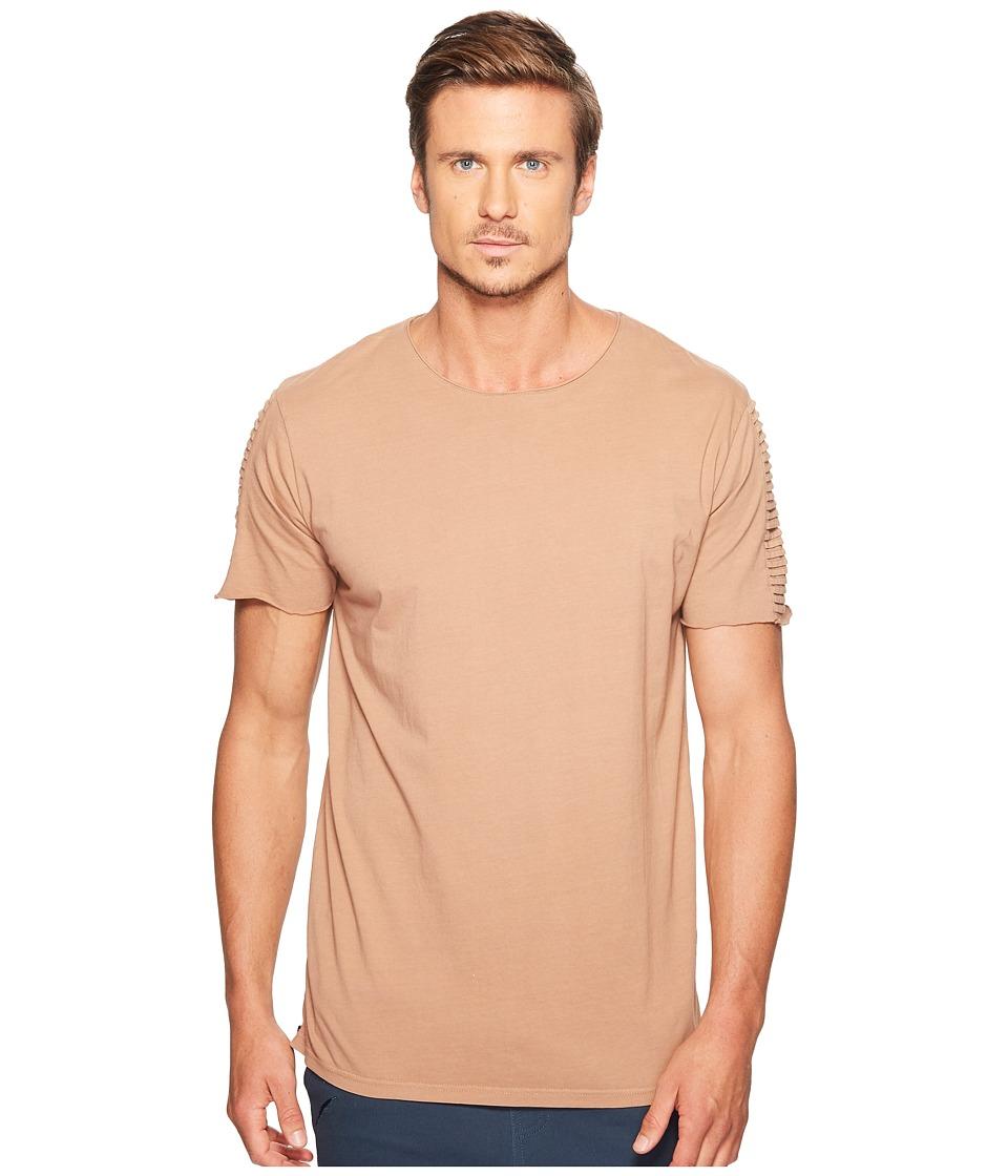 nANA jUDY - Drift T-Shirt with Moto Biker Sleeve and Zippers At Side Seam (Burnt Mauve) Men's T Shirt