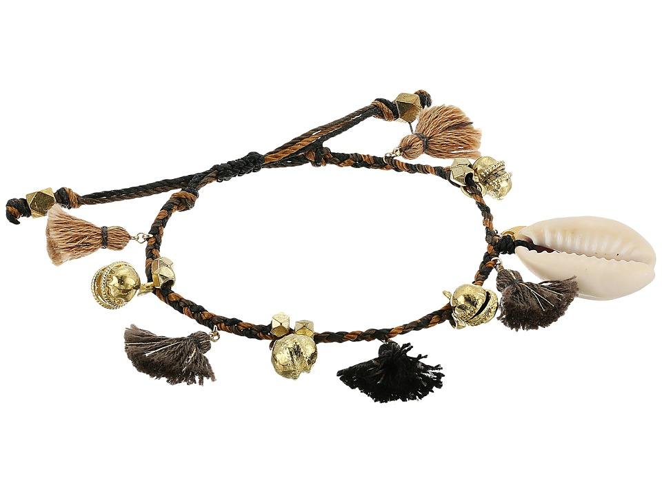 Chan Luu - Pull Tie Bracelet w/ Shells, Tassels (Black Mix) Bracelet