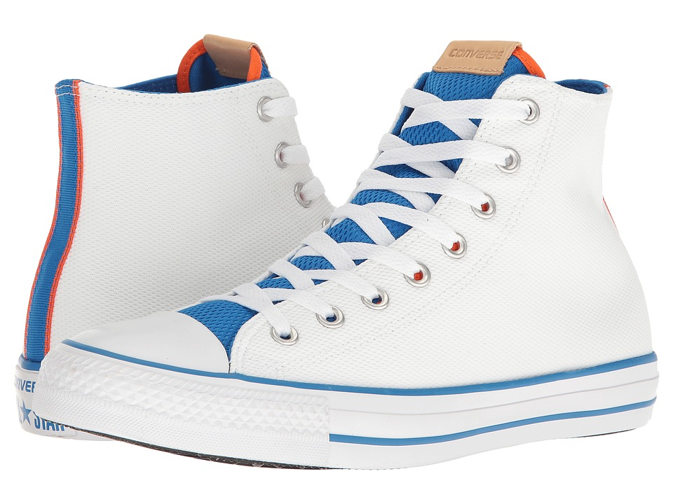 Converse Chuck Taylor(r) All-Star(r) Hi (White/Bold Mandarin/Soar) Classic Shoes