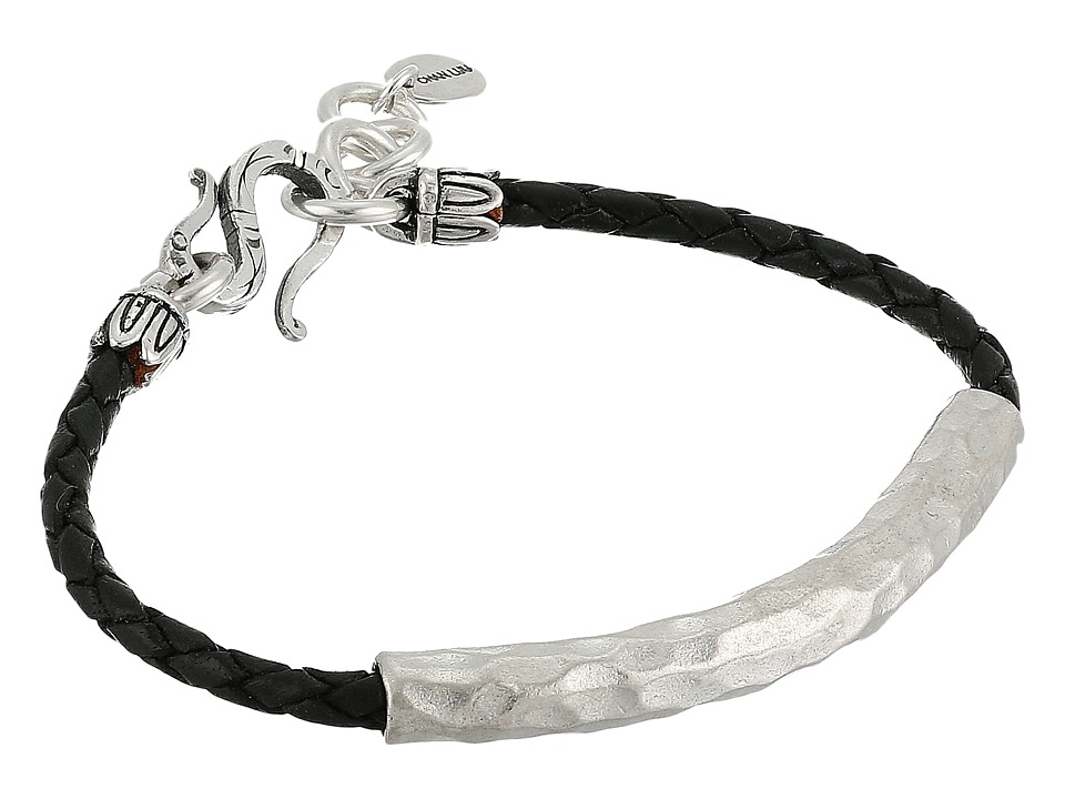 Chan Luu - Leather Braided Bracelet w/ Sterling Silver Hammered Bar (Black) Bracelet