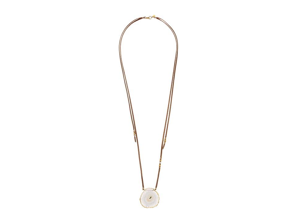 Chan Luu - 18k Gold Plated Sterling Silver Necklace On Leather w/ Solar Quartz Stone (Solar Quartz) Necklace