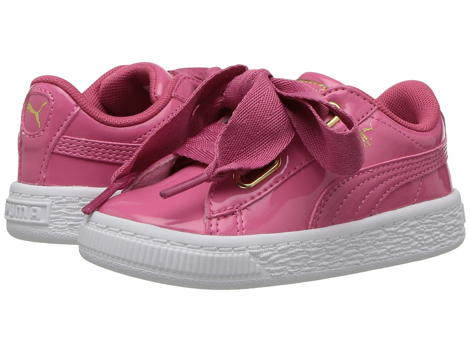 Puma Kids Basket Heart Patent Gold (Toddler) (Rapture Rose/Puma Team Gold) Girls Shoes