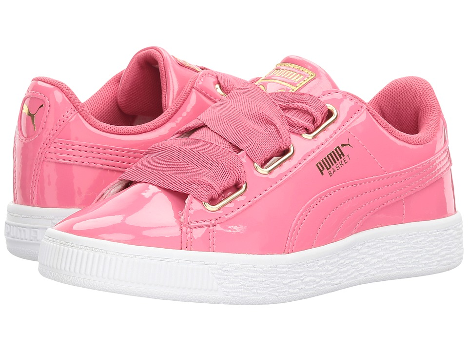 Puma Kids Basket Heart Patent Gold (Little Kid/Big Kid) (Rapture Rose/Puma Team Gold) Girls Shoes
