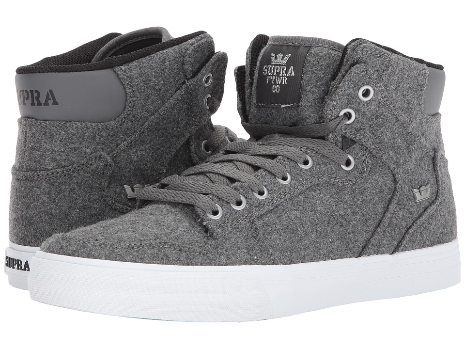 Supra Vaider (Charcoal Wool/Silver/White) Skate Shoes