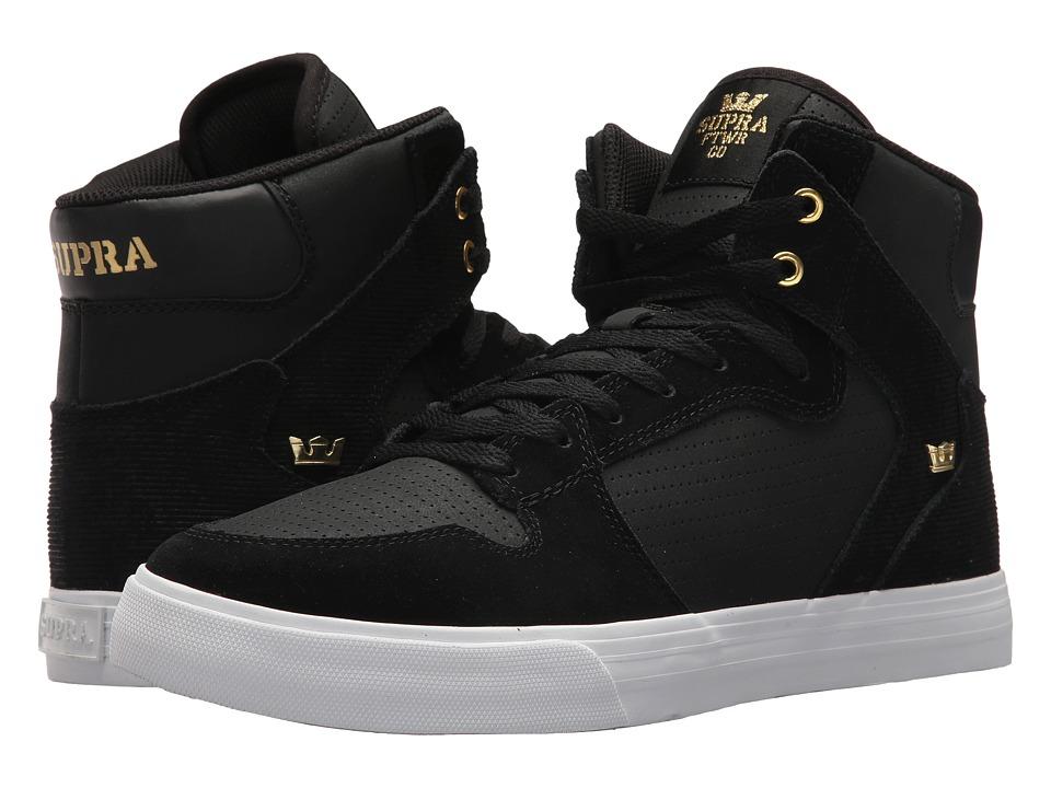 Supra Vaider (Black/Gold/Gold/White) Skate Shoes