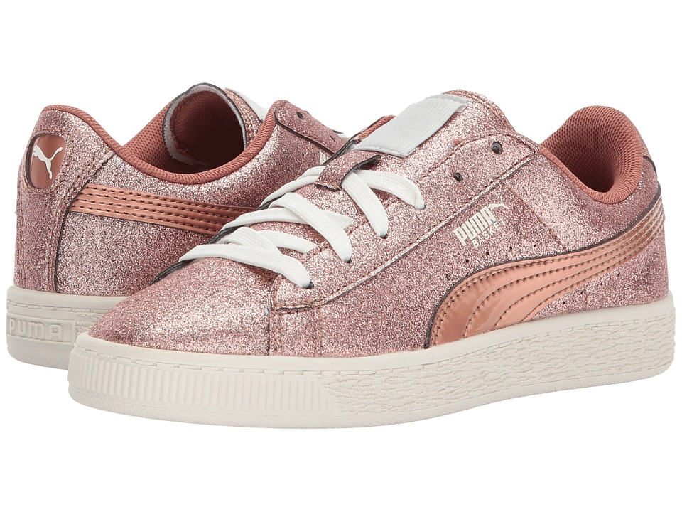 Puma Kids Basket Holiday Glitz (Little Kid/Big Kid) (Copper Rose) Girls Shoes